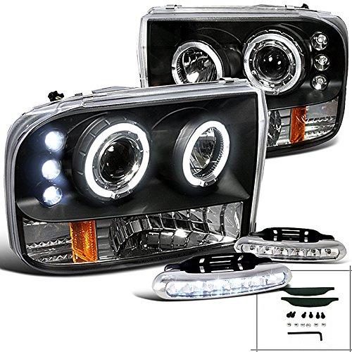 F250 F350 F450 F550 Black Halo Projector Headlights w/LED Bumper Fog Lamp