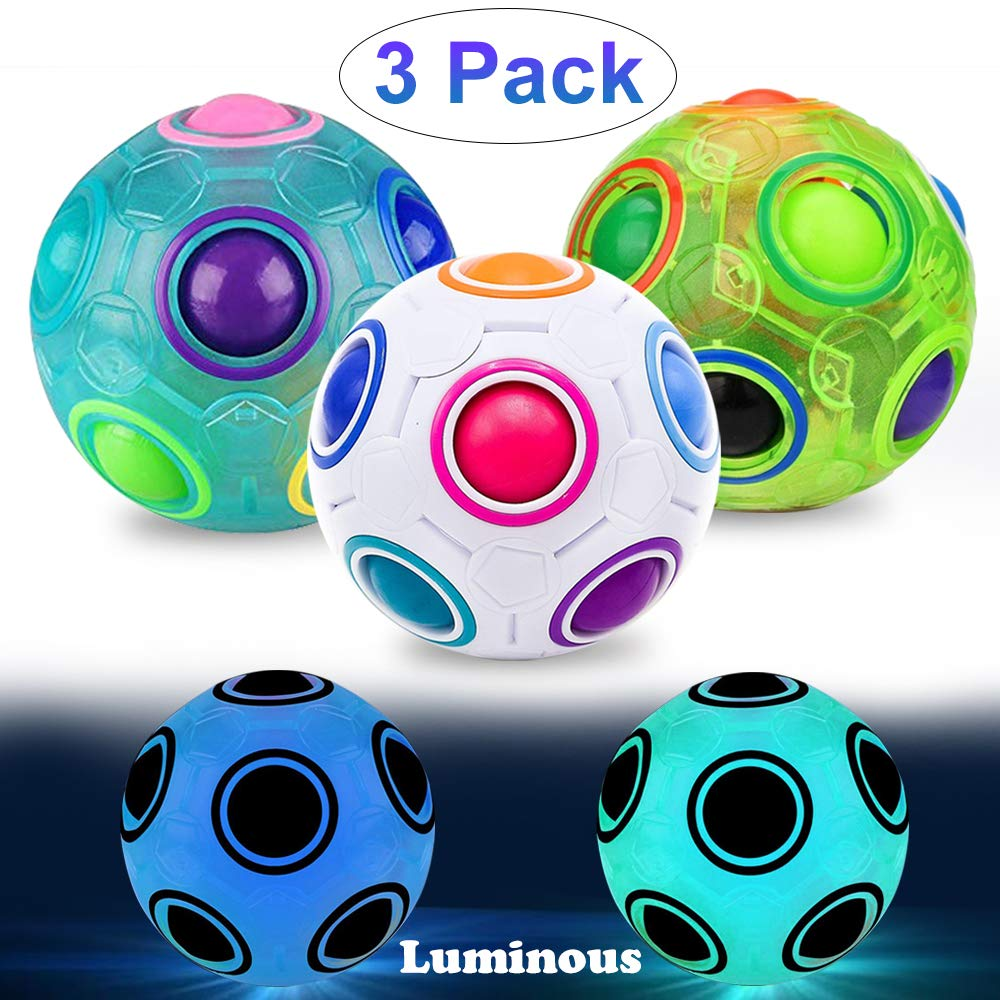 LANDYLO 3 Pack Fidget Cube Toys 2.7'' Luminous Magic Rainbow Ball 3D Puzzle Sensory Play Ball for Kids Adults Brain Teaser Stress Reliever Anti-Anxiety ADD/ADHD Classroom Educational