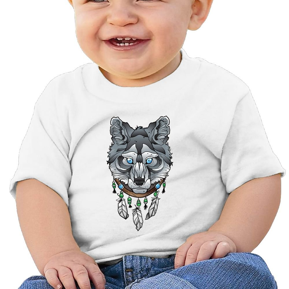 Buecouteswolf with Dream Catcher Toddler//Infant Short Sleeve Cotton T Shirts White