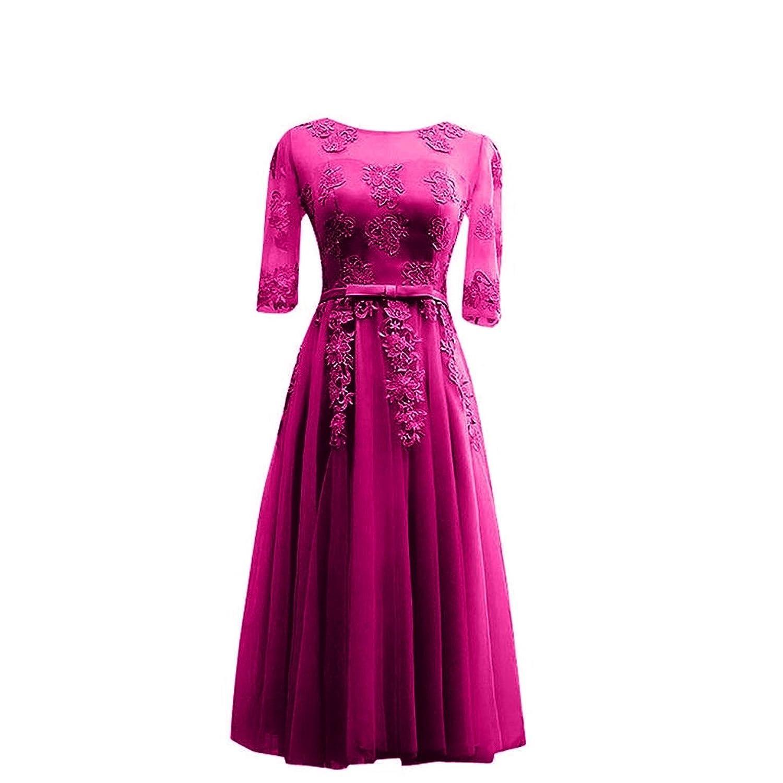Charm Bridal 1/2 Long Sleeve Bridesmaid Dress Tea Length Summer Girl Dress