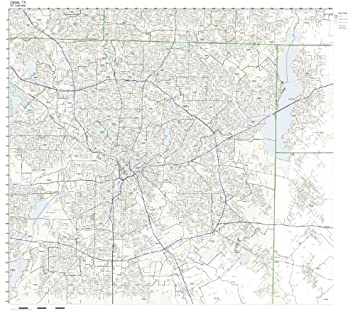 Amazon Com Zip Code Wall Map Of Dallas Tx Zip Code Map Laminated