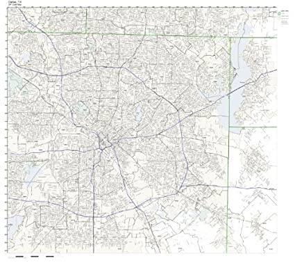 Amazon Com Zip Code Wall Map Of Dallas Tx Zip Code Map Not