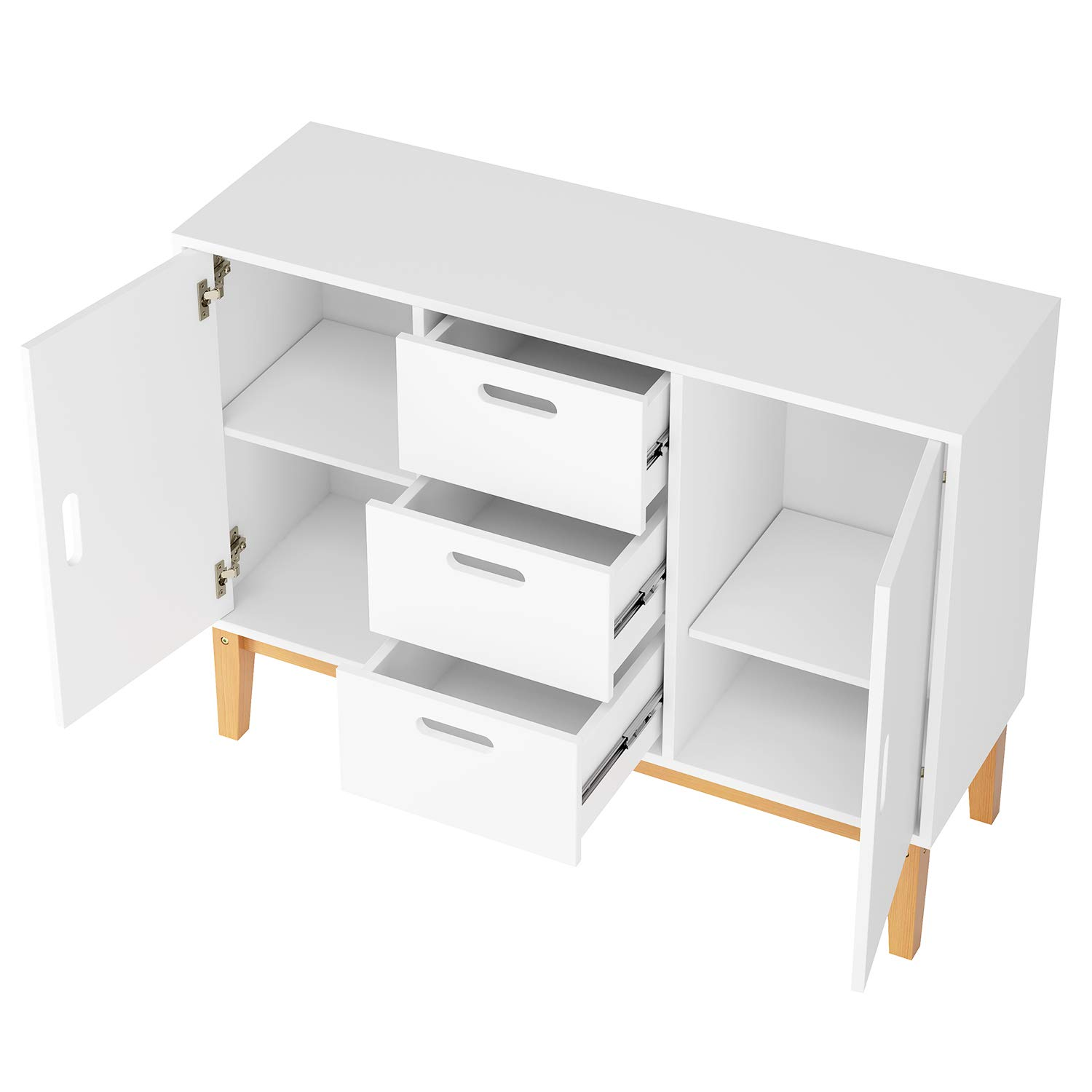 HOMECHO Floor Buffet Sideboard Storage Cabinet Freestanding Console Table Cupboard Chest 2 Door, 3 Drawers and 2 Inside Adjustment Shelf for Hallway, Living Room and Kitchen White Color HMC-MD-004 by HOMECHO (Image #8)