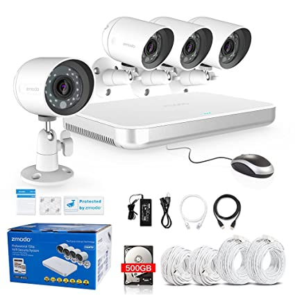 noveste Zmodo 4 CH 720P HD Video Vigilancia 4 Cámaras con sin disco duro 500 GB