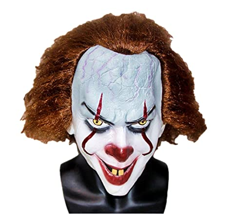 f2d44891b514 Maschera Da Clown Pennywise Per Adulti Deluxe Accessori Costume Carnevale  Halloween Film IT Cosplay Joker Idea