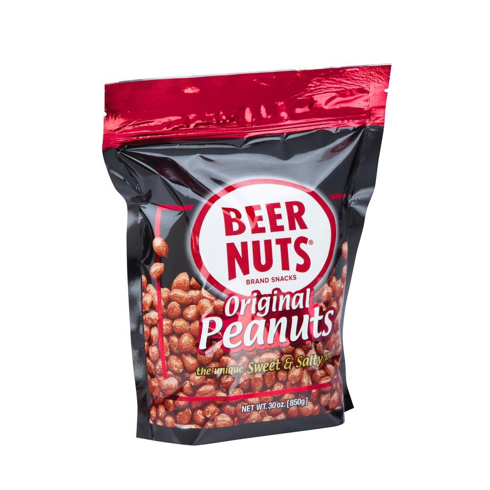 BEER NUTS Original Peanuts - Grab Bag - 30 oz Resealable Bag, Sweet and Salty, Gluten-Free, Kosher, Low Sodium Peanut Snacks