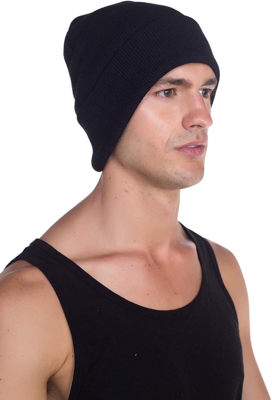 Top Level Unisex Cuffed Plain Skull Beanie Toboggan Knit Hat/Cap, Blk at  Men's Clothing store