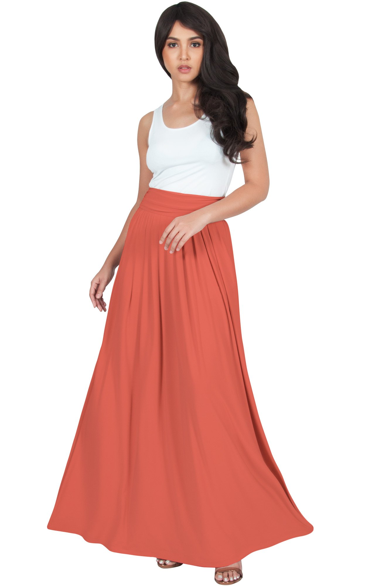 KOH KOH Womens Womens Long Flowy Cute Modest High Waist Floor Length Pockets Casual Semi Formal Vintage Slimming Work Office Workwear Maxi Skirt Skirts, Coral L 12-14