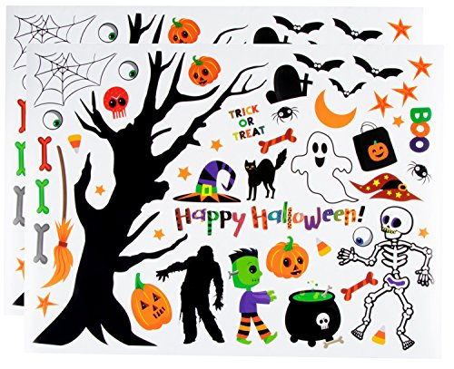 Halloween Wall Stickers - 2-Sheet Festive Halloween Theme Wall Decals, Peel & Stick Removable Halloween Decoration Stickers for Home, Windows, Doors, Glass, Includes Skeleton, Frankenstein, Pumpkin ()
