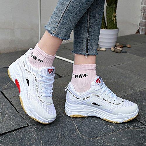 Color Deportivos Zapatos Deportivas Zapatillas y de Primavera otoño Verano Cordones de Blanco Mujer Señoras tamaño de 38 Zapatillas rrUwOqd6p