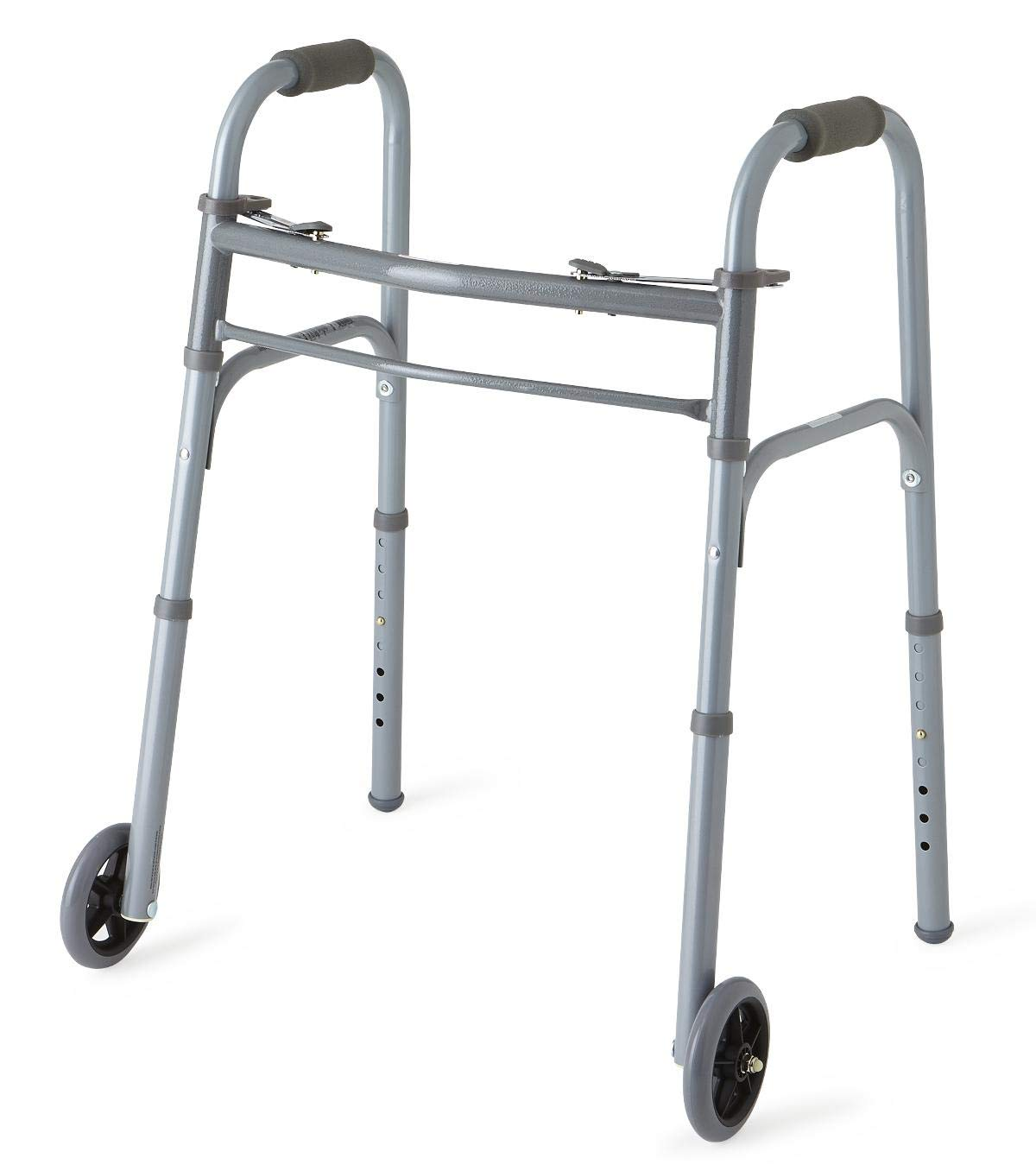 Medline Junior Two-Button Folding Walker with 5'' Wheels, For Users 4'6'' to 5'5'' by Medline