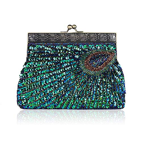 Enjoysports Cluth Bags Party Bag Peacock Evening Handbag Glitter Sequin amp; Ball Bridal for Wedding Handmade Vintage Women Bag Exquisite Peacock Beaded Beads rqw6ArO