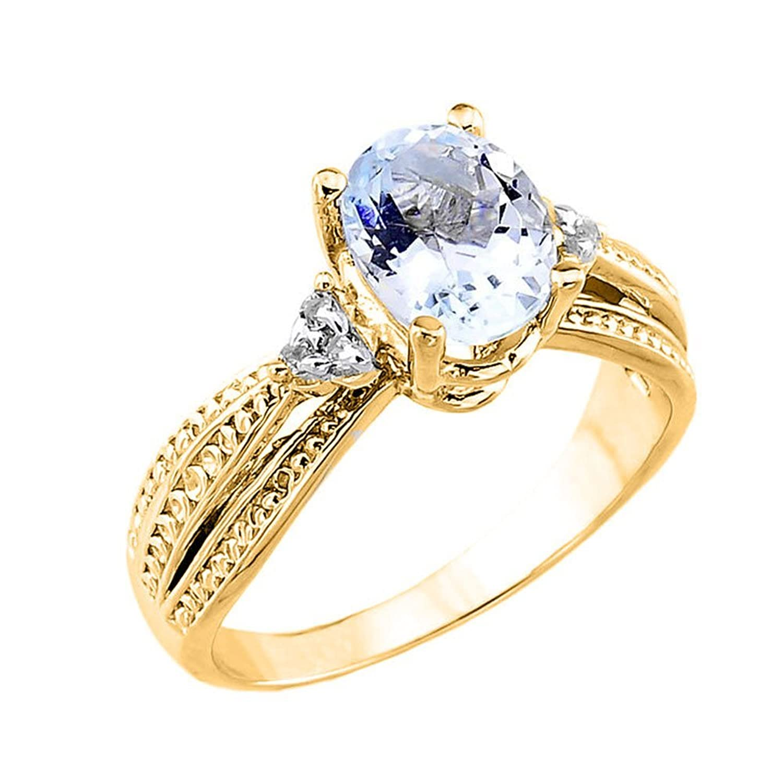 Women's 14k Yellow Gold Diamond Band Oval Aquamarine Engagement Ring