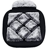 15 A - Crown Gray Snow Queen Fuzzy Car Steering Wheel Cover Soft Plush Winter Warm Womens Luxury Car Accessories Universal Size 38cm