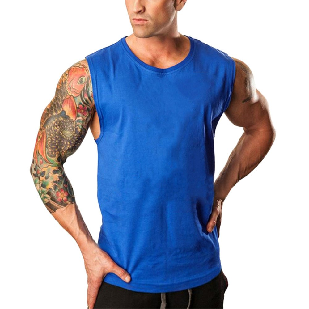 Pitauce Sleeveless Shirts for Men Loose Tees T Shirts for Men Men's Fitted Muscle Workout Tank Tops Gym T-Shirts Blue