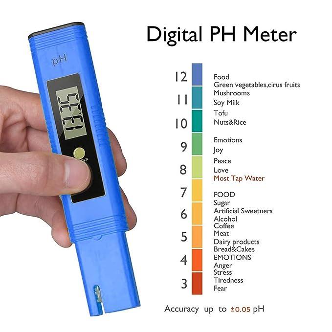 Medidor de pH digital, medidor de pH Prueba de calidad de agua de pH de 0.01 pH con rango de medición de pH de 0-14, TDS PH Temperatura de la CE 2 en ...