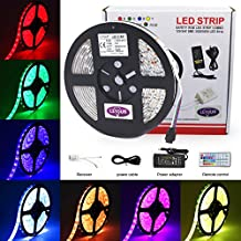 RGB LED Strip LETOUR Super Bright SMD 5050 IP65 Waterproof 12 Volt 300LED 5Meters LED Strips Flexible Light with 44Key Remote & 12V 5A Power Supply (5050 16.4ft 300 RGB LEDs IP65 Kit)