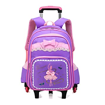 OPmeA Mochila Chica Imprimir Roller Trolley School Bag Pupils Niño niña Trolley Bag Cute Butterfly Student
