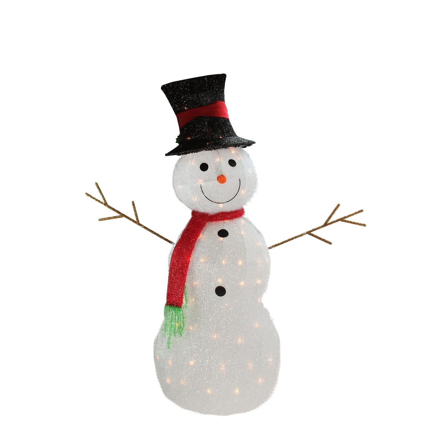 Northlight Lighted 3-D Tinsel Snowman with Top Hat Christmas Yard Art Decoration, 48'', White
