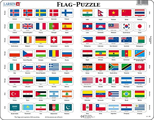 Larsen L2 Flags Puzzle For Kids (80 Pieces)