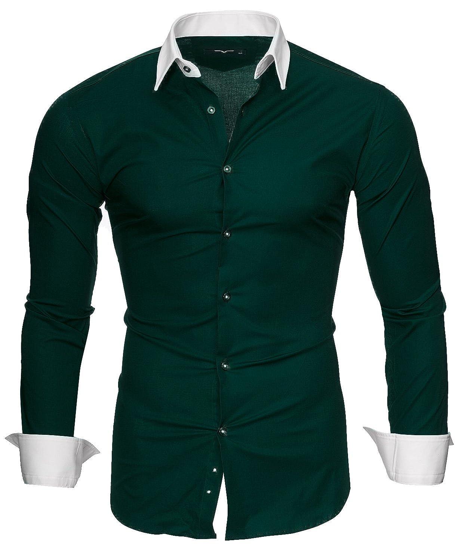 Kayhan Herren Hemd Slim-Fit Langarm Hemden Freizeit Hochzeit Arbeit Business Super Qualität Model Mailand S M L XL 2XL 3XL