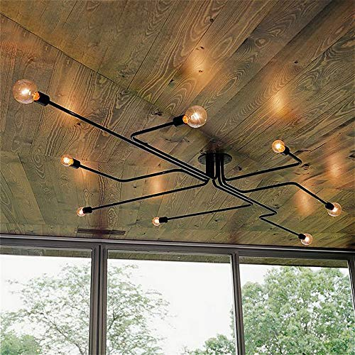 (SUSUO Lighting Edison Style Simplicity Close to Ceiling Chandelier Wrought Iron Flushmount Linear Ceiling Light for Living Room,Kitchen,Dining Room - Black Finish,8 Heads)