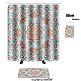 vanfan bath sets Polyester rugs shower curtain vector tribal mexican style ethnic seamless p shower curtains sets bathroom 36 x 78 inches&23.6 x 15.7 inches(Free 1 towel 12 hooks)