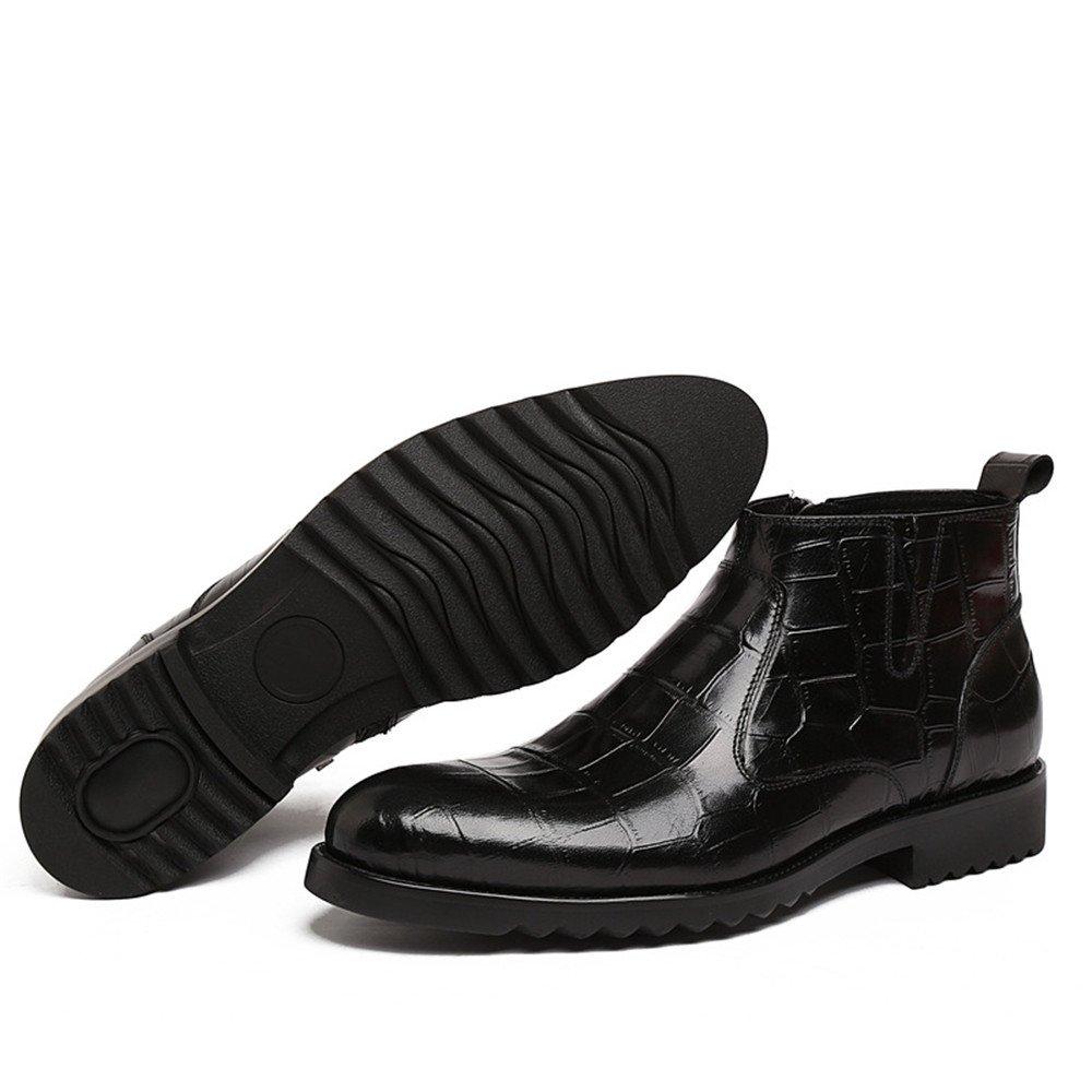 Liyanqin Botines Ocasionales de los Hombres del Cuero Genuino con los Zapatos de Trabajo Respirables del Negocio de la Cremallera (los 23.5cm-27cm) (Color ...