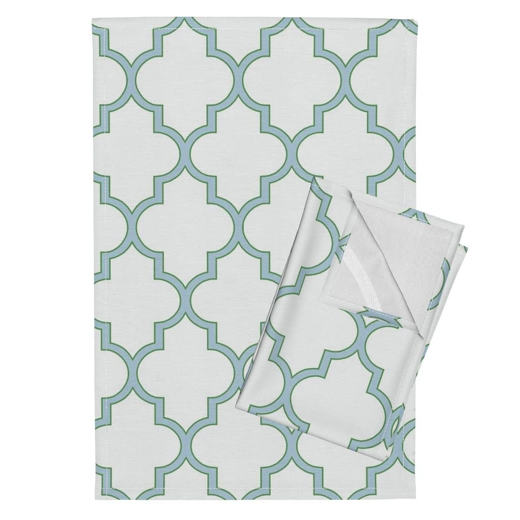 Roostery Moroccan Quatrefoil Ogee Lattice Trellis Green Blue Tea Towels Kelly Green and Spa Quatrefoil by Willowlanetextiles Set of 2 Linen Cotton Tea Towels