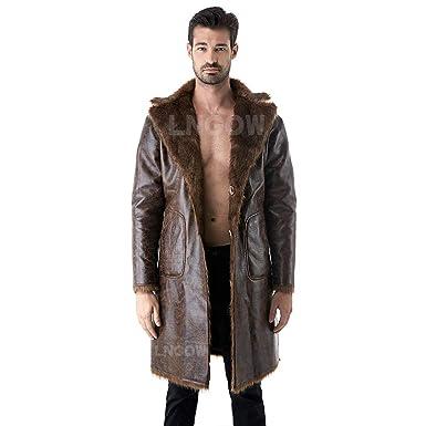 44830e9a94a LNGOW Winter Warm Coat for Men Faux Fur Long Outerwear Overcoat Jacket  Double-Sided Wearable