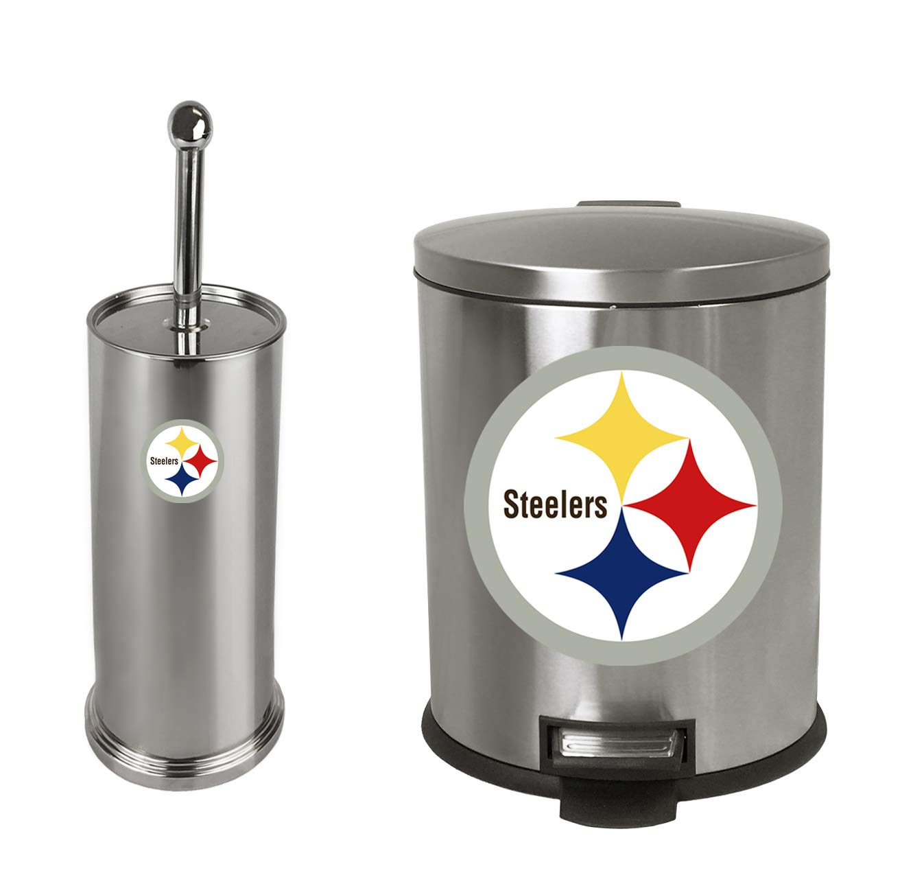 The Furniture Cove 2-Pc Set - 1.3 Gallon Stainless Steel Step Trash Can Waste Basket and Toilet Brush with Holder Featuring the Choice of Your Favorite Football Team Logo (Steelers)
