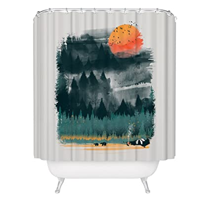 Fuzzy Ink Wilderness Print Shower Curtain Inspirational Outdoor Camping Hiking Forest Nature Lover Sunset Bears Waterproof