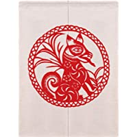 Ommda Cotton Printed Chinese Japanese Noren Divider Doorway Curtain Tapestry with Rod for Home Decoration