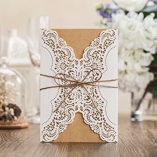 wishmade 100 pieces laser cut wedding invitations cards kit with rustic rope card stock for engagement party birthday baby shower bridal shower pk14113