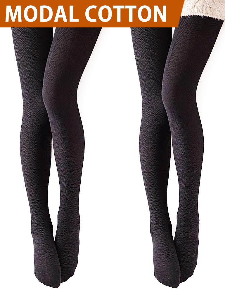 Vero Monte 2 Pairs Women's Modal & Cotton Opaque Knitted Patterned Tights (Black) 40931