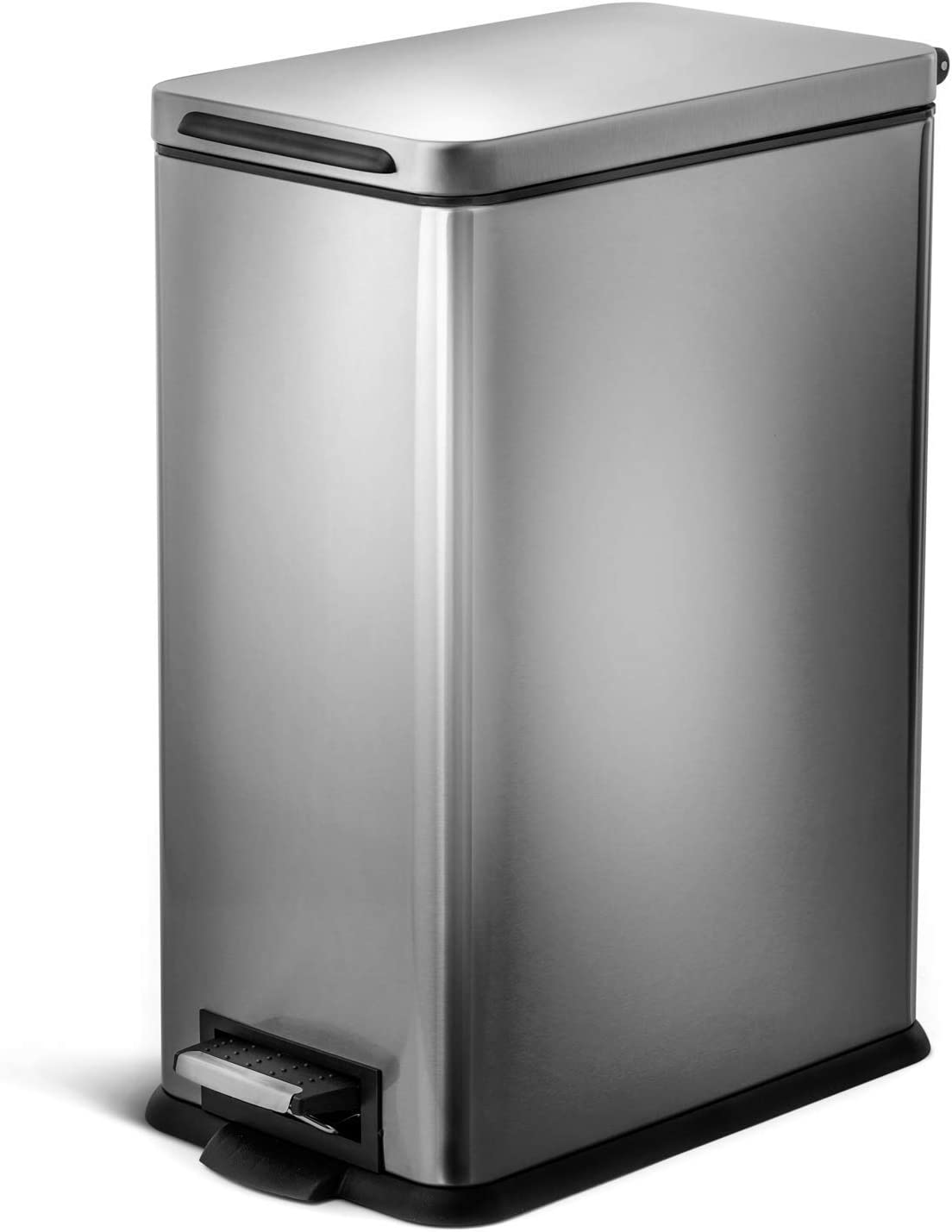 Home Zone Living VA41837A 30 Liter / 8 Gallon Stainless Steel Trash Can, Slim Rectangular, Pedal, Silver