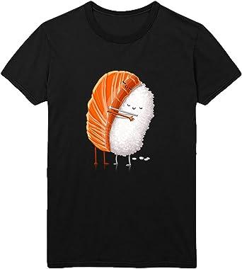 MYMERCHANDISE Sushi Friendship T-Shirt Camiseta Shirt para Hombre Hombres Camisa Negra Men Mens Tshirt 100% Algodón Regalo De Cumpleaños Navidad Mujer: Amazon.es: Ropa y accesorios