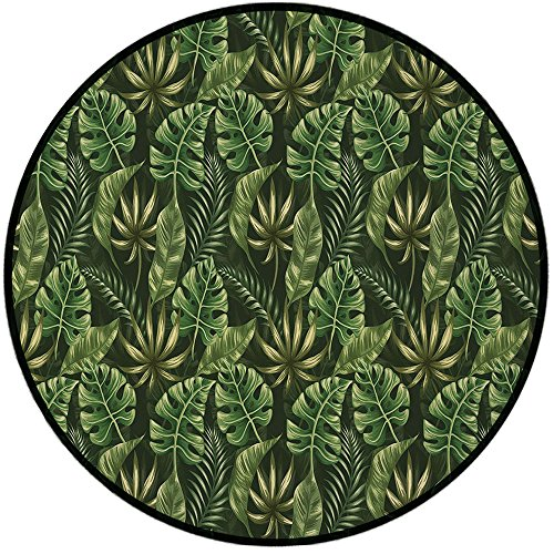 Printing Round Rug,Leaf,Jungle Forest Palm Leaves Hawaiian Summer Tropic Theme Decorative Mat Non-Slip Soft Entrance Mat Door Floor Rug Area Rug For Chair Living Room,Dark Green Forest Green and Apple ()