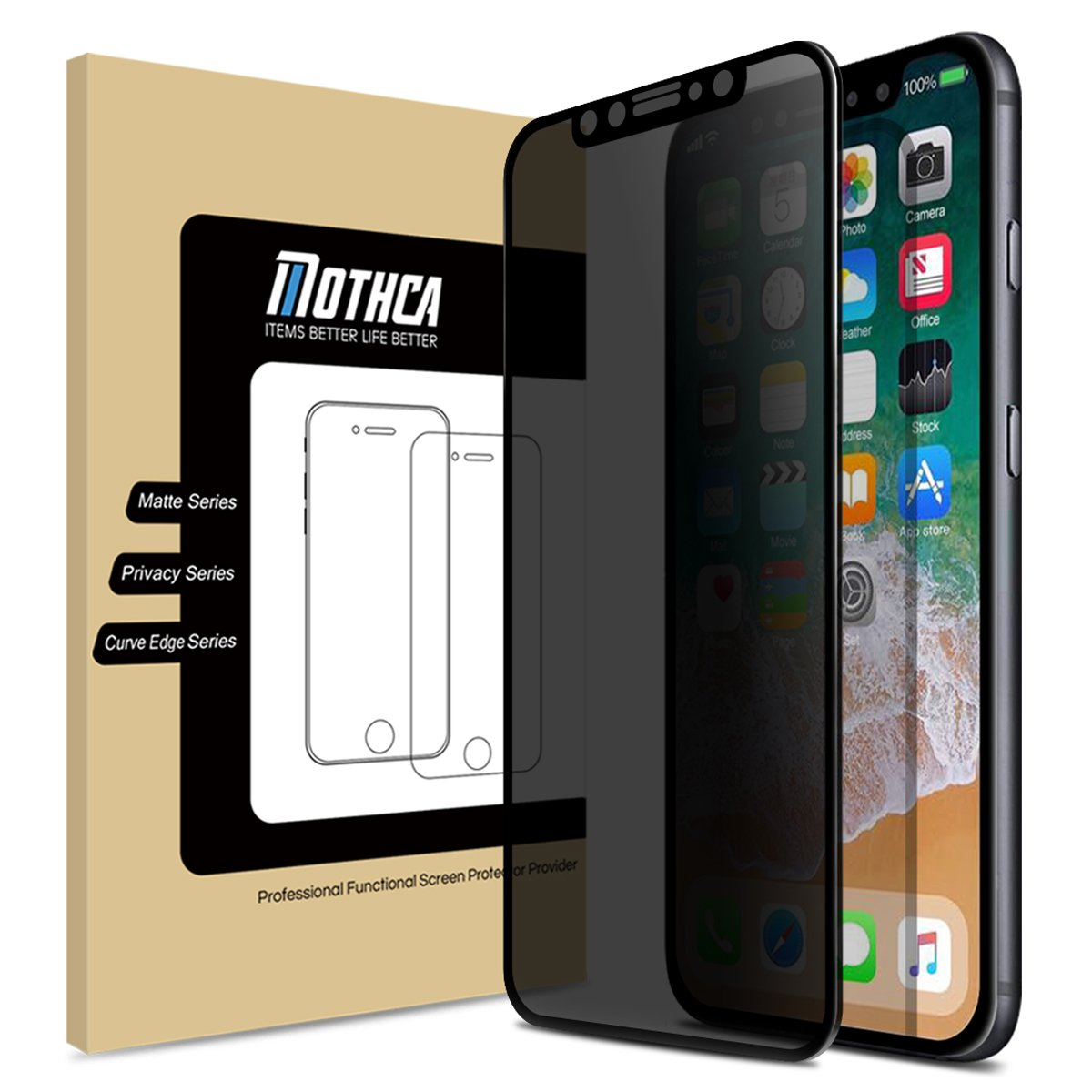 Mothca iPhone X Screen Protector Privacy [Full Screen][Case Friendly]  Anti-Spy Tempered Glass Film 3D Touch 9H Hardness Glass Screen Guard