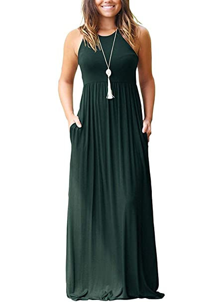 09aa717a91 I2CRAZY Green Dresses for Women Casual Long Maxi Dresses Round Neck  Sleeveless Dress -XS,