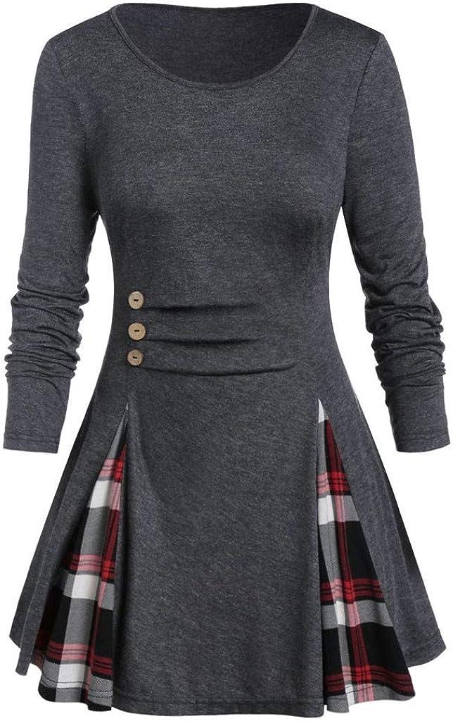 FORUU womens Tops /& Tees Womens Long Sleeve Plaid Turtleneck Tartan Tunic Sweatshirt