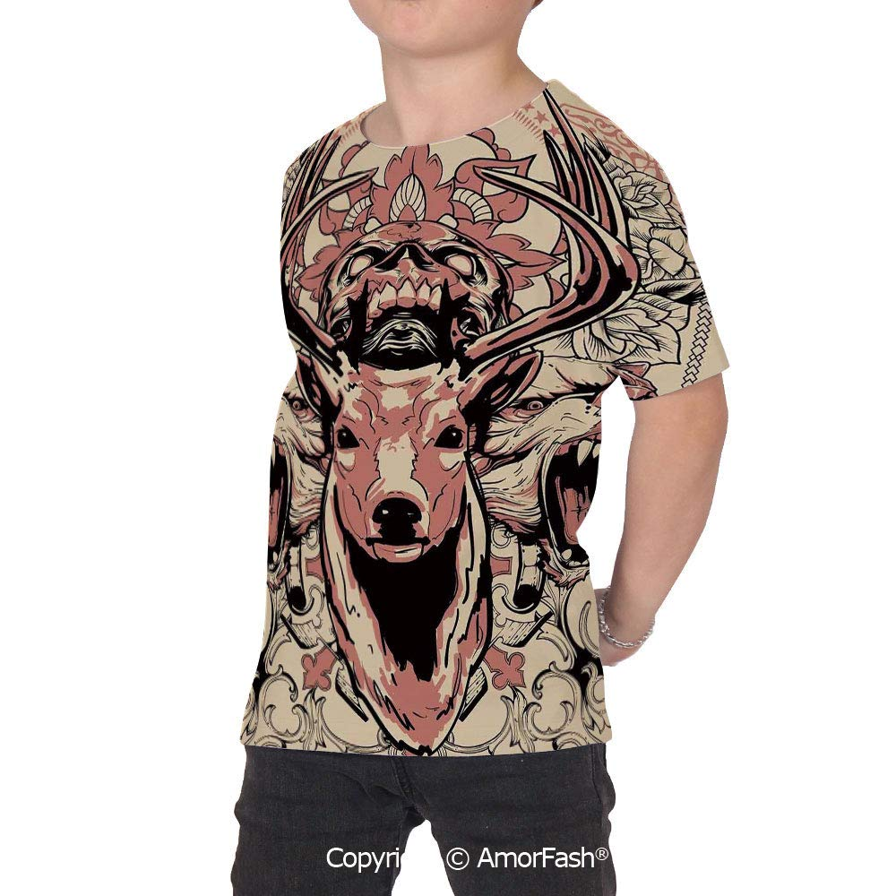 PUTIEN Deer Decor Decor Childrens Short Sleeve Cool T-Shirt,Polyester,Modern Artsy Ill
