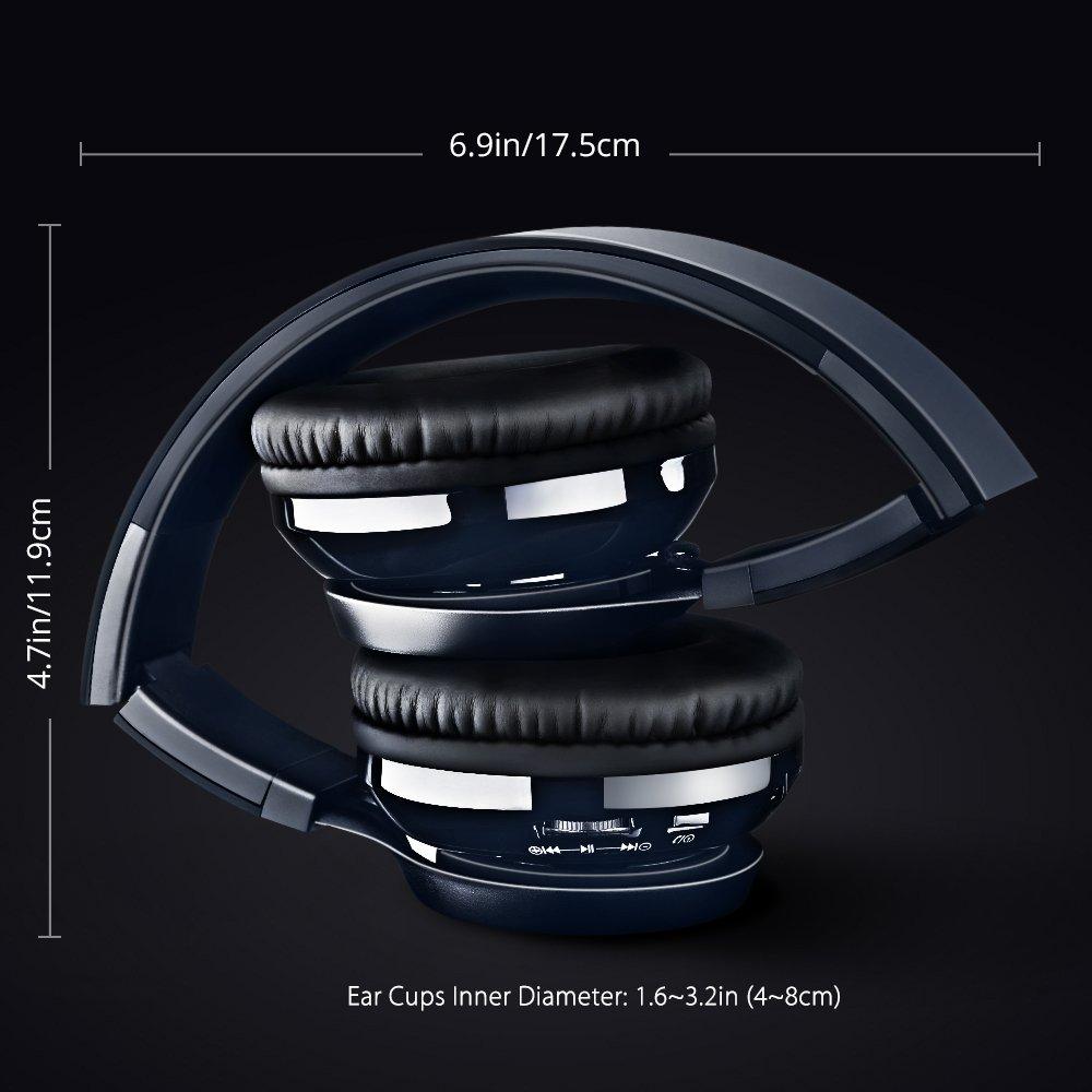 Mpow Thor, Auriculares de Diadema Cascos Bluetooth Inalámbrico con Micrófono 12H Reproducción Audio de Alta Resolución Casco Plegable Sin Cable Manos Libres ...
