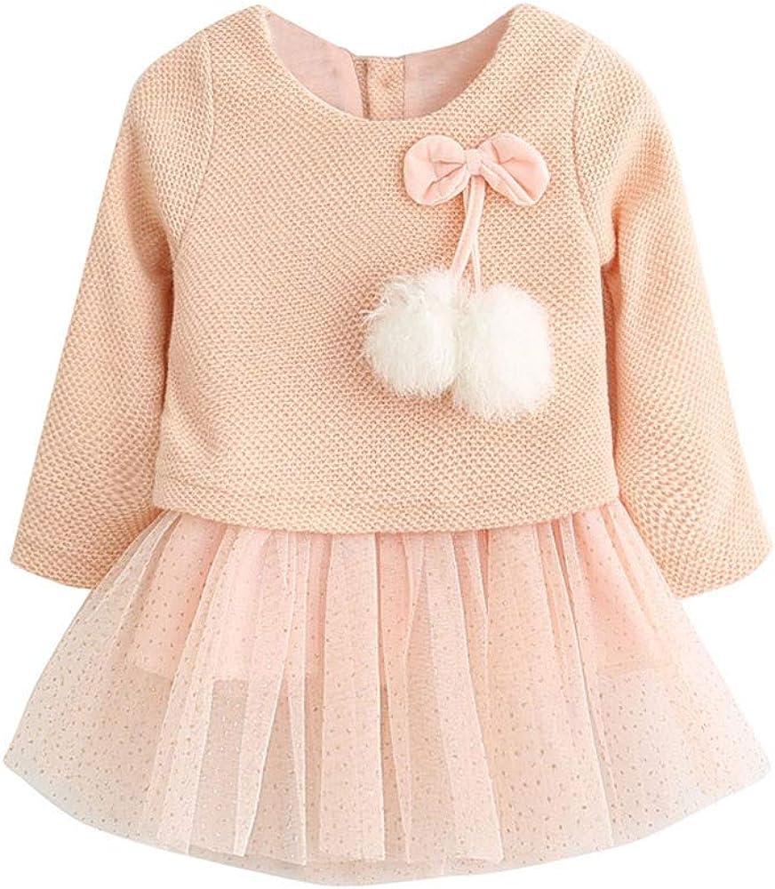 Vestidos para Niñas, Bebe Niña Niños Manga Larga con Cuello Redondo De Punto Arco Ropa Recién Nacido Niña Tutú Princesa Vestido Ropa Bebe Niña Invierno Princesa Vestidos Ropa Bebe Niña 0-24 Meses