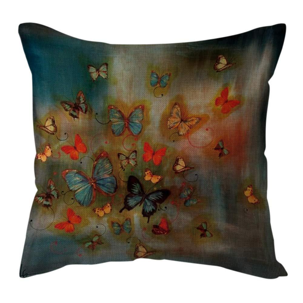 Pgojuni Cotton Linen Butterfly Home Decorative Throw Pillow Case Waist Cushion Throw Pillow Case for Sofa/Couch 1pc 45X45 cm (E)