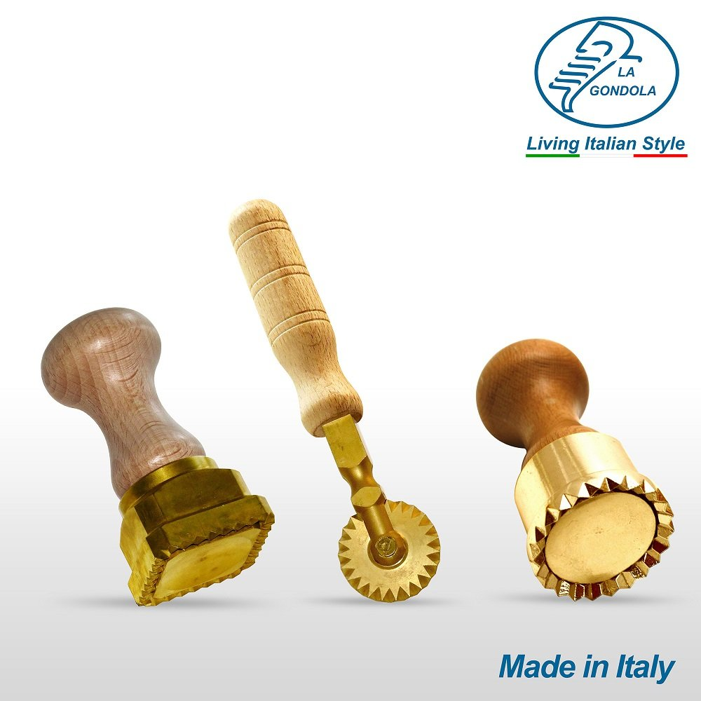 LaGondola Bundle : 1 Square Ravioli Stamp 45x55 , 1 Round Professional Tortelli Stamp 50 mm and 1 Pasta Cutter Festooned in Brass and Natural Wood by LaGondola (Image #2)
