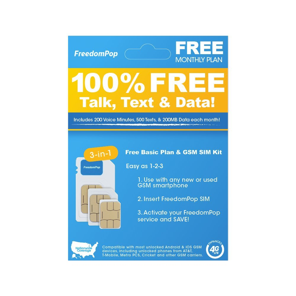 FreedomPop LTE SIM Kit - 3-In-1 - Voice/Data Bundle Prepaid Carrier Locked Android/IOS GSM Devices (U.S. Warranty)