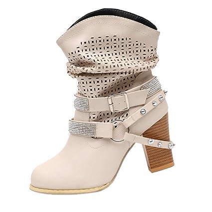 OHQ Bottines à Talons Hauts éPais avec des Bottes en Strass Noir Gris Beige Femmes Automne Hiver ÉVider Ankle Boots Dames Heel Demi Martin Chaussures