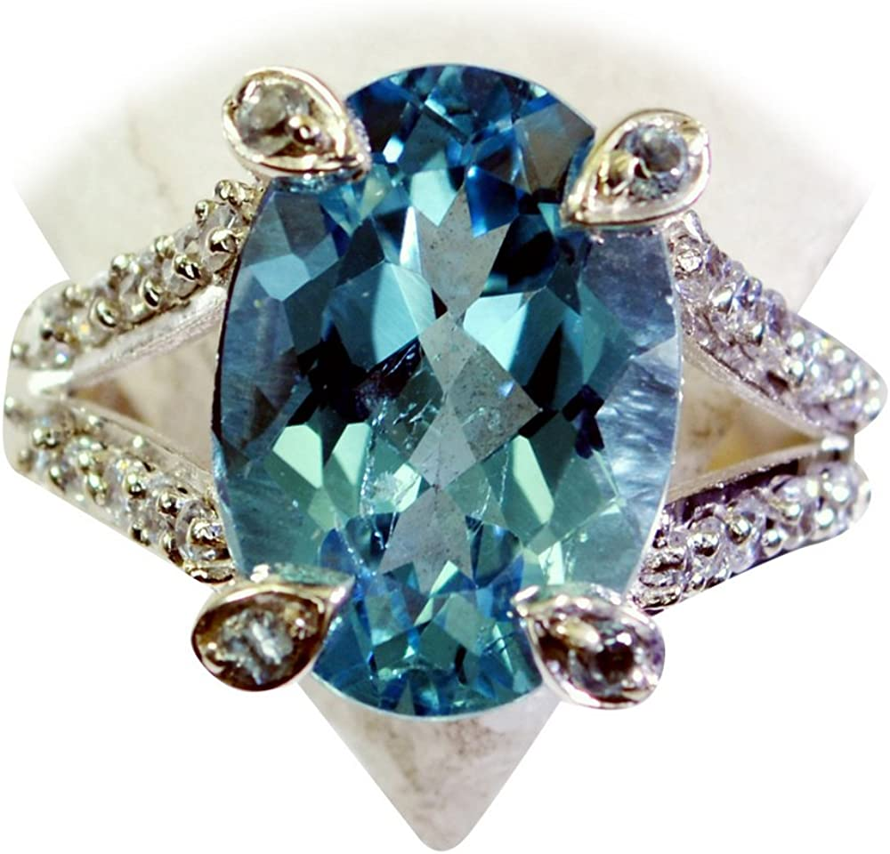 55Carat Brand Real Blue Topaz Sterling Silver Ring Marquise Shape Bezel Style Size 4,5,6,7,8,9,10,11,12