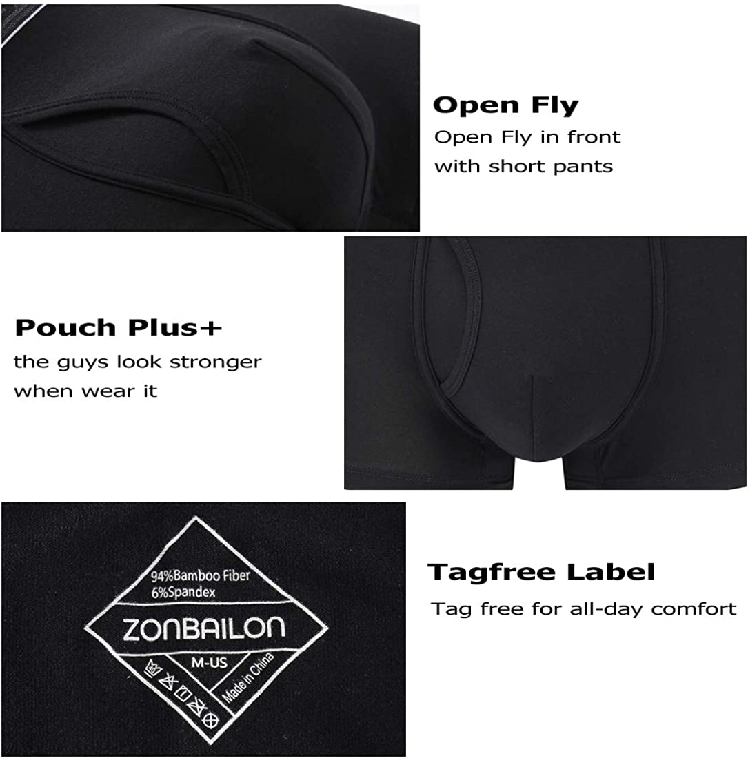 ZONBAILON Bamboo Ultra Soft Breathable Trunks Underwear No Fly